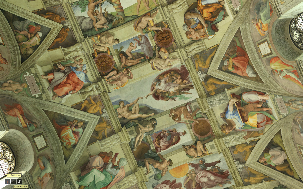 Nothing like being able to get a 360º view inside the Sistine Chapel—complete with background choir music—to renew one's faith in mankind and the internet. I highly recommend you set your browser to full-view to get the full breadth of Michaelangelo's masterpiece. Use your arrowkeys and control/shift buttons to move about.  It's incredible how this has been preserved for so long. Look at that anatomy, those colours, and how he fully integrates the architecture into his painting. Gah!  I actually think this might be better than being there in person, what with those tourists crowding the chapel and all.