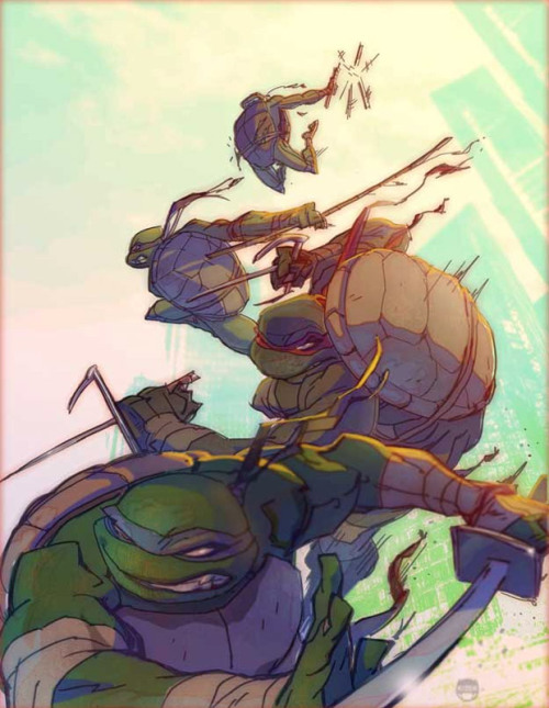 justinrampage:  The four classic heroes in a half shell get the drop on Shredder in artist Coran Stone's killer new fan art piece. I used to love drawing them as a kid. Related Rampages: Game Stops Now (More) Heroes in a Half Shell by Coran Stone (deviantART) (CGHUB) (Twitter)