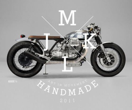 "JMKL Moto Guzzi Concepts This stunning custom Moto Guzzi concept is the work of JMKL, a Spanish graphic designer and lover of two wheeled transport. That big Guzzi motor balanced in such a simplified, ""nothing but the basics"" layout is to me just about the best way to customise these Italian behemoths. Hopefully we will get to see one of the concepts built, I'm not really fussy about which one as they all look pretty damn cool."
