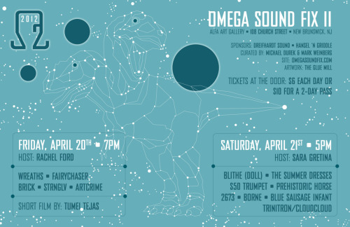 """The Omega Sound Fix is an innovative and eclectic music festival that takes place in central NJ.  The festival showcases top electronic and avant-garde musicians, video artists, and performance artists.  The first Omega Sound Fix manifested on November 20th and 21st, 2010.  Omega Sound Fix II will be a 2 day event taking place in New Brunswick, NJ on April 20th and 21st, 2012 at Alfa Art Gallery""http://omegasoundfix.com/"