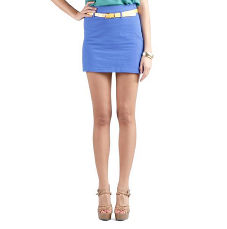 simple tight stretch cobalt blue short short skirt