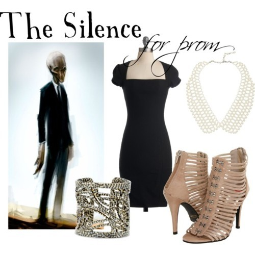 Silence for prom Sheath dress, $48Promiscuous platform heels, $48Moschitto Designs resin jewelry, $42Collar necklace, $28