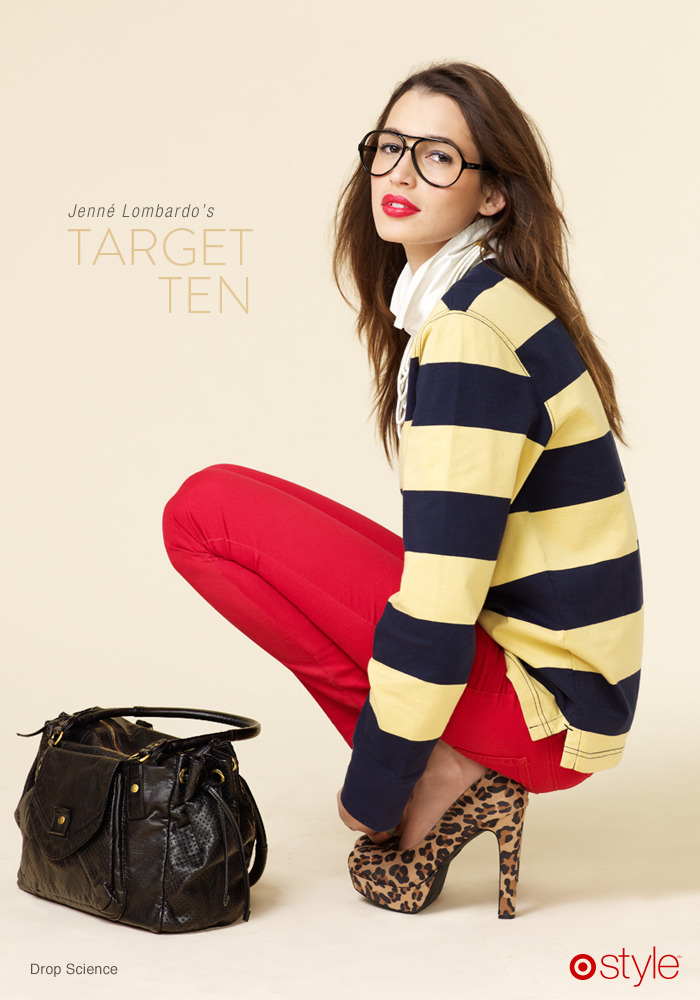Jenné's Target 10: Drop Science Trend watch: stripes & leopard are an amazing combination. own it: rugby top. red skinnies. leopard heels. bag.