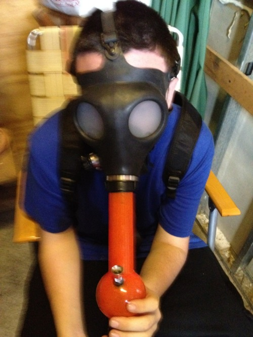 breaking in the new gas mask <3