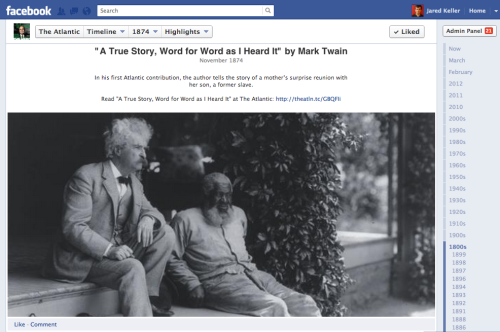 theatlantic:  The Atlantic Facebook Timeline: 1857-Present  We just launched our timeline featuring selections from our archives dating back to 1857. Read works by Mark Twain, Henry David Thoreau, Ralph Waldo Emerson, Harriet Beecher Stowe, Bertrand Russell, Jane Addams, Henry James, Rudyard Kipling, Woodrow Wilson, H.G. Wells, David Foster Wallace, James Fallows, Arthur Schlesinger, and more.   Reblogging for future consumption.