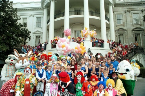 Just another day at the White House. We kid, of course!  It's a photo from the 1989 Easter Egg Roll hosted by President George H.W. Bush and family. 3/27/89. More White House Easter Egg Roll photos to come.