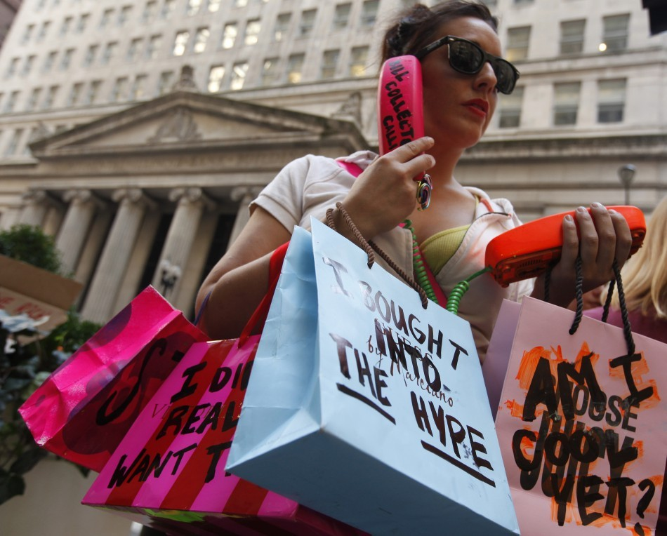 A protestor demonstrates in support of the New York Occupy Wall Street protests in the financial district of Chicago, October 5, 2011.