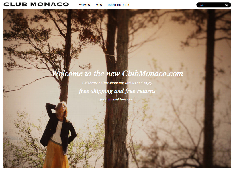 clubmonaco:   Clubmonaco.com: E-Commerce at Last!  If you haven't heard, US residents can finally shop online at clubmonaco.com. The site is rad — chock full of not only your favorite threads but cool editorial features and loads of inspiration. Canada… you're up next!  Nice