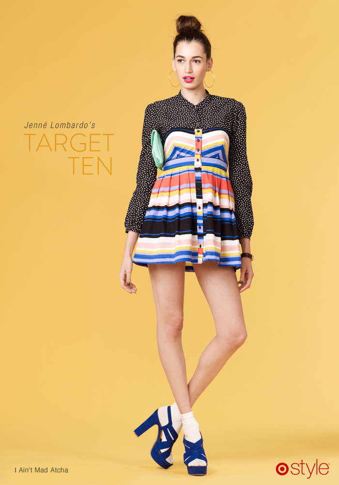"Jenné's Target 10: I Ain't Mad Atcha ""Pair a small pattern like polka dots with a bold stripe to leave people scratching their heads in a good way."" -JL STYLE BONUS: This dress has been shortened by Jenné for a fun, flirty fit. As she would say - burn it, tear it, or cut it - just make it yours! own it: polka dot button down. sweetheart dress. seafoam clutch. bobby socks. heels."