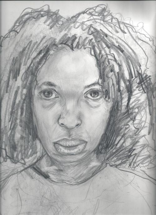 "strange self portrait study, in graphite. ""glancing in the mirror"""