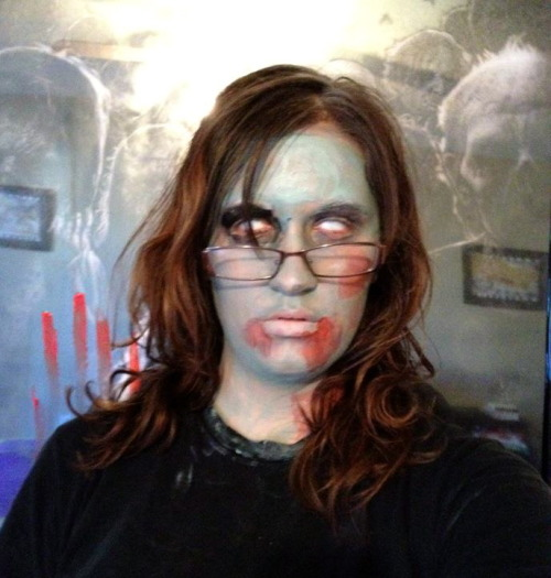 #zombrarian! I zombified myself in preparation of Humans versus Zombies—a week-long simulated zombie apocalypse game played by students at my university. Nine librarians and support staff participated on the zombrarian team. Check out the chatter via @muntzlibrary and @librarianmindy. I'm a reference librarian and liaison to STEM, HRD, and communications.