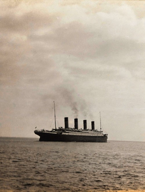 strangeland:  RMS Titanic departs Queenstown (now Cobh) in Southern Ireland, having weighed anchor at 1:30pm. This is thought to be the final photograph ever taken of the ship.