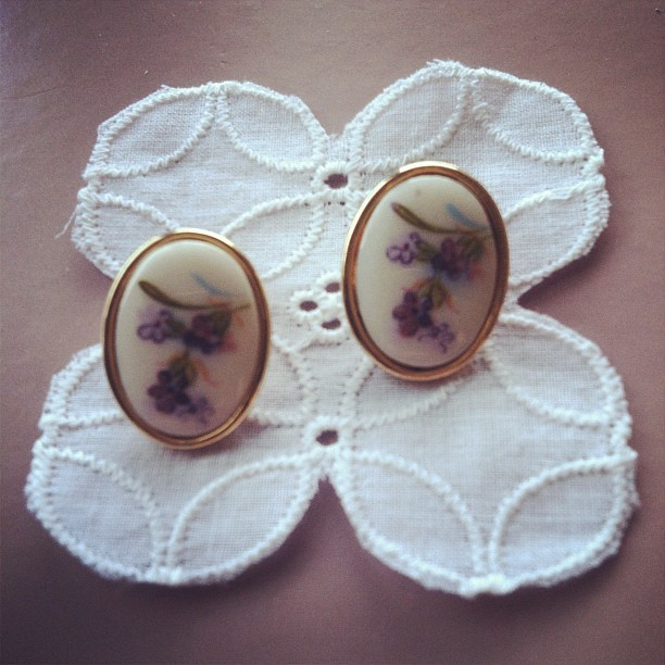 Just bought a very cute pair of vintage earrings! (Taken with instagram)