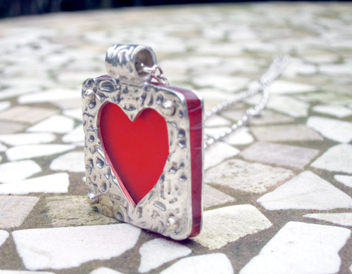 Silver heart pendant: From the side…. http://www.etsy.com/listing/96479432/heavy-silver-heart-pendant-with-red
