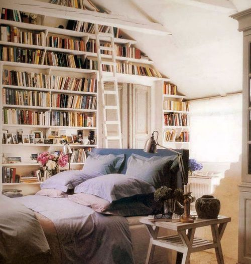 bedroom + library (via theBERRY)