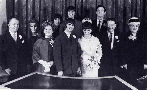 SCAN - 11 February 1965, Ringo marries Maureen Cox. Behind them are from left to right: Joseph Cox, Cynthia Lennon, Florence Cox,  John Lennon, George Harrison, Brian Epstein, Harry Graves and Elsie Graves. Photo by Robert Freeman