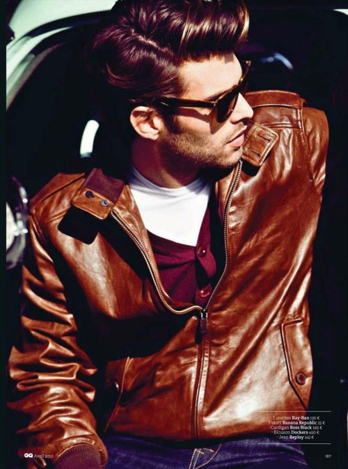 Excellent styling and darn good leather jacket.  Jon Kortajarena photographed bySergi Pons for the April 2012 issue of GQ France.