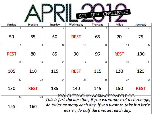 workingforweightloss:  April 2012 ~ Sit Ups Challenge!