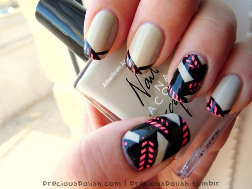 fuckyeahnailart:  (via precious polish: Neon On Neutral)