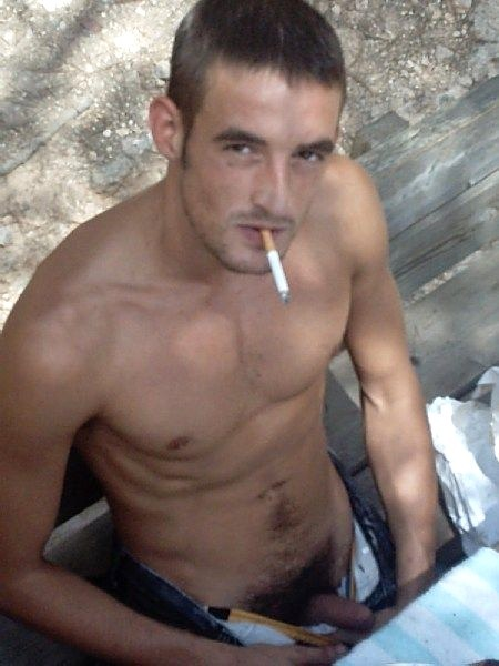 Dude, come suck my straight cock while I have a smoke.