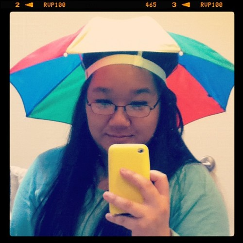 Lol you guys like my new (umbrella) hat (: (Taken with instagram)
