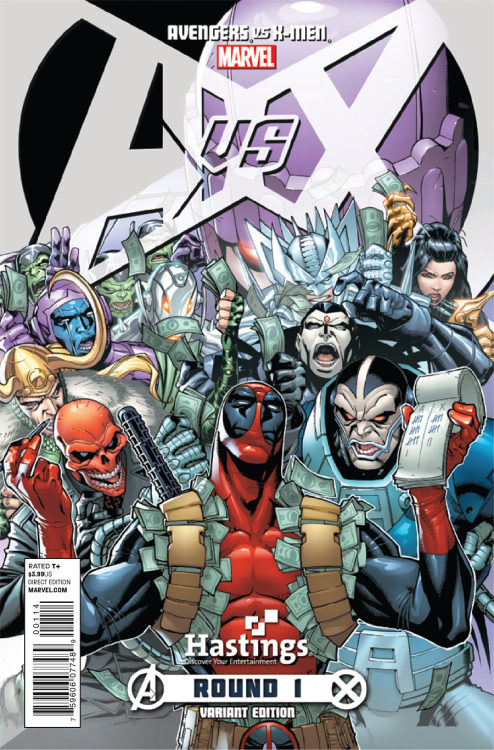 sleo:  damnniggadamn:  thenerdycrockett:  Avengers and X-Men villains placing bets… and Deadpool's the bookie. Perfection. Avengers vs. X-Men #1, April 2012  I NEED IT I NEED IT I CAN'T BREATHE OMFG  Woah. That's the fucking variant? .. I need it.   APOCALYPSE WTF?!!?