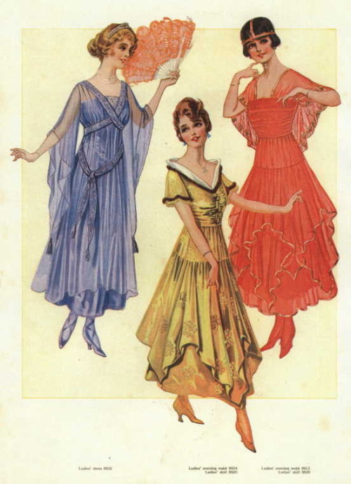 Evening dresses or ballgowns, 1916 US, the Delineator