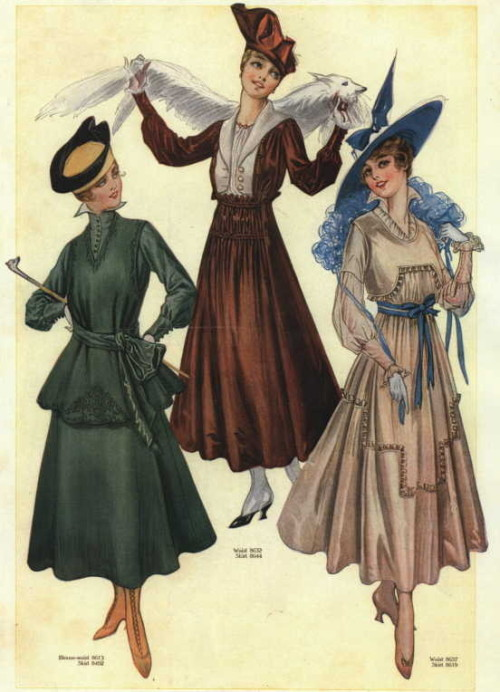 oldrags:  Riding habit (left) and day dresses, 1916 US, the Delineator  I want aaall of them. Particularly the brown one.