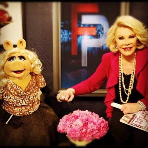 Vicki Gunvalson visits Joan Rivers on the set of Fashion Police.