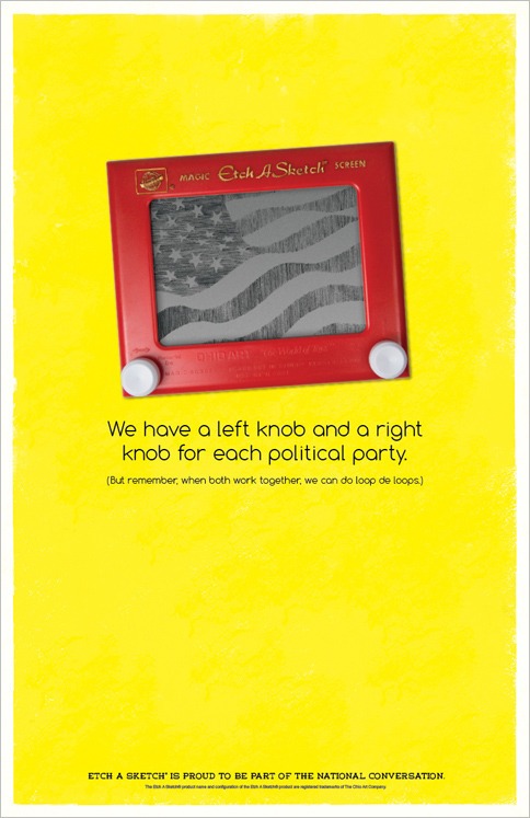 Etch A Sketch may not have a political position, but it knows when to capitalize on a trend involving its suddenly-popular product. (Click for more.)