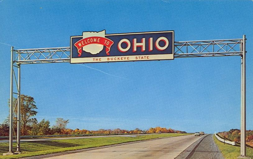 WELCOME TO OHIO  Beginning of Ohio's Interstate 90 Freeway. Near Cleveland, I-90 becomes the Ohio Turnpike. Another interchange converges with Interstate 71 south of Cleveland. This whisks the traveler to Columbus and Cincinnati.  Whisk me up, Scotty.