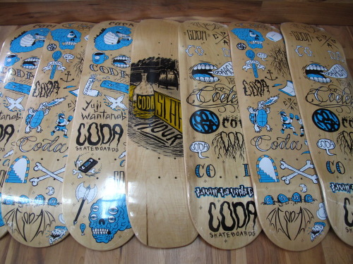 "did all but the ""slappy hour' graphics. available thru Coda Skateboards."
