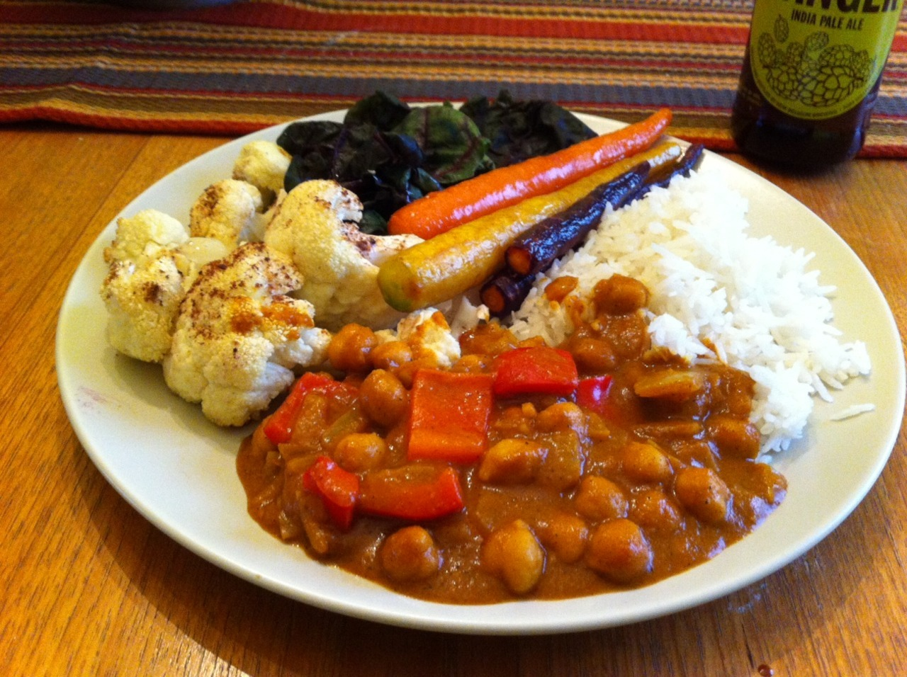 March 30, 2012 Chickpea korma with coconut jasmine rice, roasted garam masala cauliflower, roasted rainbow carrots, and steamed chard.  Here is the korma recipe I used (SO GOOD), and here is a recipe for the coconut rice, although it's relatively self-explanatory. I saved my leftover coconut milk, because I think it would make a badass, if a little fatty, base for a fruit shake.  SO MANY LEFTOVERS.