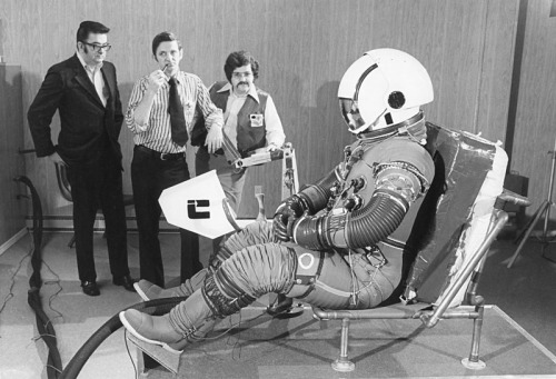Final fitting of the A7L spacesuit for one of the Apollo 17 astronauts (possibly Harrison Schmitt), from the Project Apollo Gallery (image ap17-72-H-314). This one's as much for the cheeky chaps in the background as for the spacesuit itself. It's worth looking at some of the other photos on that site, too, such as this image of the suit in launch position.