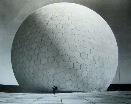 An RAF officer in front of a completed radome at RAF Fylingdales. Taken from this Flickr post of a page of Jonathan Glancey's Lost Buildings.