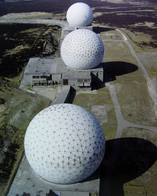 The three radomes at RAF Fylingdales, Yorkshire. Taken from this Flickr post based on a page in Jonathan Glancey's Lost Buildings.
