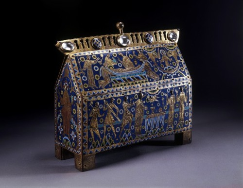 """The Becket Casket."" V&A Museum, London. From Limoges, France, ca. 1180-1190. From the V&A:  The murder of the Archbishop of Canterbury, Thomas Becket, in Canterbury Cathedral on 29 December, 1170 by four knights in the service of King Henry II, is one of the few episodes of British medieval history that is still widely familiar. It provoked outrage throughout Europe, and Becket's tomb became a place of pilgrimage within days of his death. He was canonised in 1173 and his shrine was one of the most famous in the Christian world, until its total destruction in 1538 on the orders of king Henry VIII. Relics of Becket were much in demand and were often housed in elaborate caskets. Numbers of these survive today, scattered worldwide, most made of Limoges enamel, like this example. The V&A chasse is the most elaborate, the largest, and possibly the earliest in date. It is a magnificent example of Romanesque art, probably made for an important religious house. The casket, or 'chasse', shows the murder of Becket, his burial, and the raising of his soul to heaven. […] Scenes of Becket's martyrdom were made familiar in Canterbury by their depiction in the stained glass windows of the Trinity Chapel, near the shrine itself. The shrine was made in 1220, when Becket's relics, newly enclosed in a shrine of gold and silver encrusted with gems, were placed behind the Archbishop's throne."