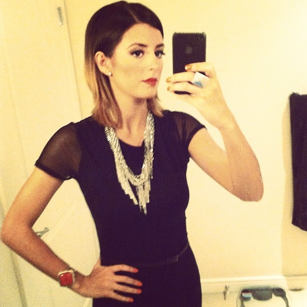 Birthday ensemble! Maxi w/ mesh sleeves and chunky jewelry.  (Taken with instagram)
