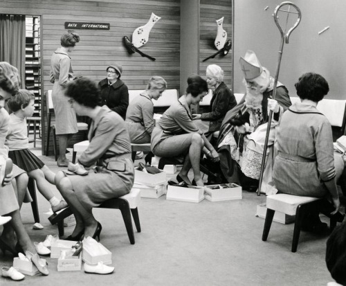 St. Nicholas shoe shopping in Haarlem, The Netherlands, 1960.