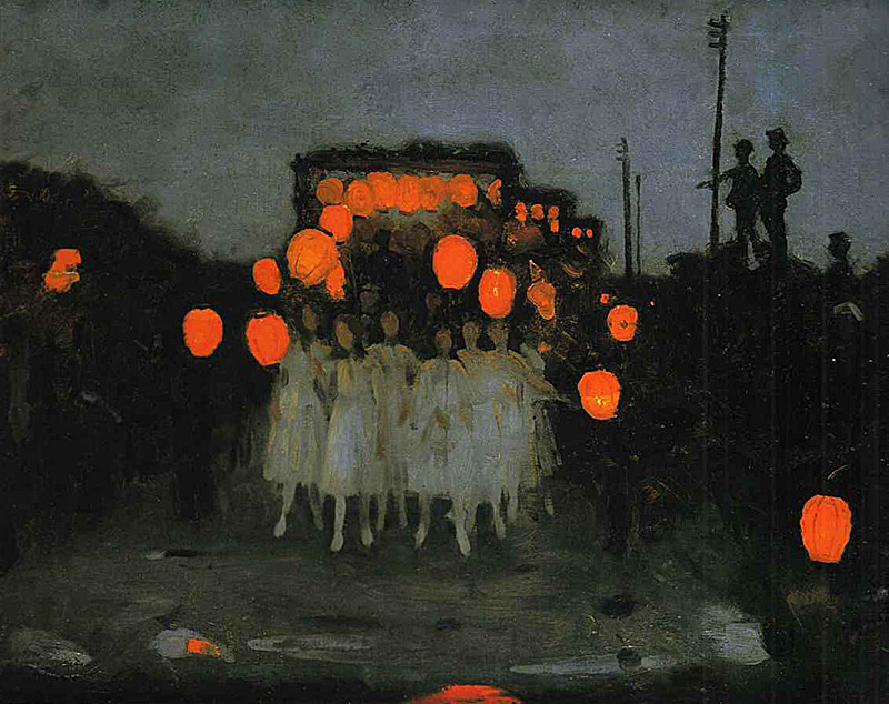 kalidraws:  welovepaintings:  Thomas Cooper Gotch The Lantern Parade   This is beautiful. It is also now residing in my color inspiration folder, yoink! I hadn't heard of Thomas Cooper Gotch before, but apparently he was an English Pre-Raphaelite painter and book illustrator.