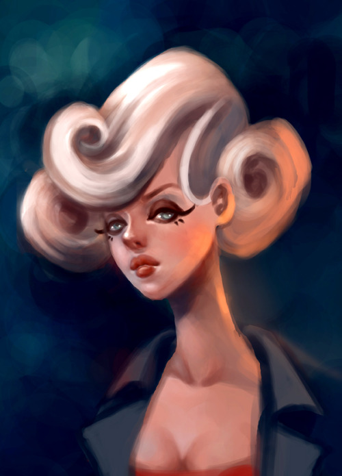 Work in progress! It's supposed to be a painterly depiction of a stylized character I created for a 2D animation assignment. I feel like I should've skewered her facial features a lot more but OH well moving on. :)