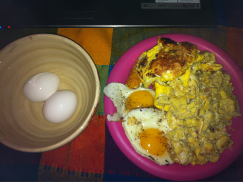 2 hard boiled eggs 2 sunny side up 4 scrambled eggs  and a 4 egg omelette with hash browns and broccoli (that looks shitty) I'm not a rugged outdoorsmen, but I think Ron Swanson would appreciate my love of breakfast.