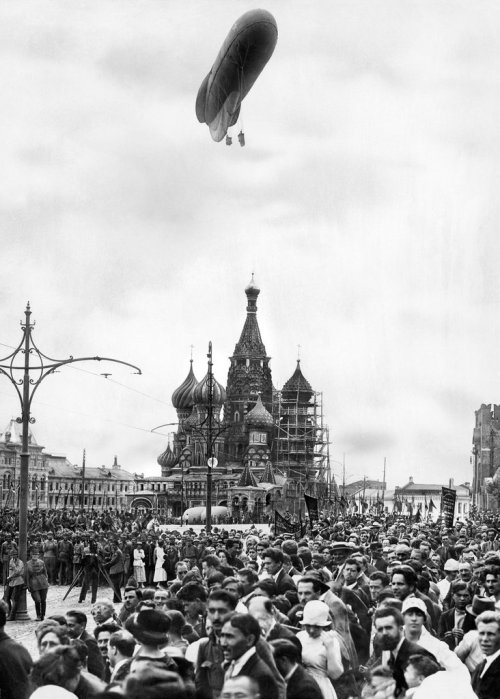 Dirigible Over St. Basil's Cathedral, Red Square, Moscow, 1921