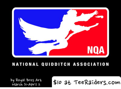 Limited Edition Tshirt: National Quidditch Association by Royal Bros Art is on sale for $10 from TeeRaiders for 72 hours only.