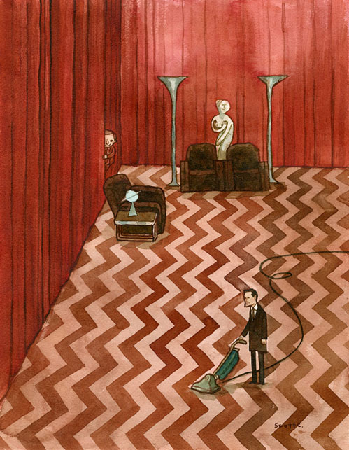 nevver:  Twin Peaks  I finished this show today. During the Black Lodge scene, I vowed never to sleep again.