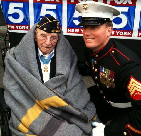 The oldest and youngest Medal of Honor recipients together.
