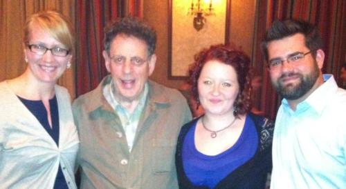 I met Philip Glass tonight, but that was only the icing on the awesomecake of the evening.  The CSO had a world premiere of a cello concerto by Glass, based on a film score he'd previously created. The piece was simply wonderful, and I fell some kind of in love with cellist Matt Haimovitz.  But this blog will never be my deeply artistic thoughts about a program. I leave that to greater ears than mine. What impressed me most tonight was Glass himself. He spent an hour at an open reception after his premiere (paired with Bruckner 6), and I stood there for most of that time watching him interact with our patrons.  What a genuine, compassionate, patient, giving man. Glass, 75 years old and the most well-known living composer in the world, has the kind of clout that would allow you to phone it in. Right? Would anybody stop him if he left after 10 minutes? Who would be surprised if he were a bit of a diva, didn't want to take photos, wouldn't personalize autographs?  But I watched him for an hour. Standing the entire time, he greeted each person by name, spent a few minutes really talking with them and giving them his attention. Signing things, snapping pictures. Some of my friends approached him— one, an elementary school teacher, requested a video greeting that she could show her classroom. He graciously acquiesced.  I should also mention that he's here for a residency, which is definitely a more in-depth engagement than we get with many artists. Glass is the CSO's Creative Director for the Boundless series this season, and so we have more access to him than we might have otherwise.  Glass seemed pleased (naturally) that there were so many young people in attendance, and so many people from out of town. (One of my friends had driven ~4 hours for this performance, before she even knew she was going to get to meet him.) Still… I walked away respecting Philip Glass as a person, outside of being an amazing composer and visionary. I hope he was completely exhausted by the positive attention he received tonight— that he felt respected, adored, revered. How he has stayed so down-to-earth and approachable is beyond me!