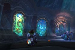 embersilk:  Stained glass of the Emerald Dream and the Sha in Ulduar Edit: I just looked at this again- is the one on the right a volcano? Could these be the 3 expansions following wrath: cataclysm, mists, and emerald dream?