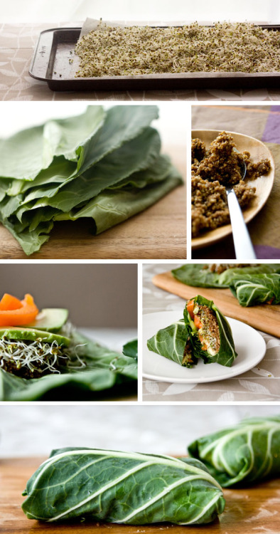 Nutty and Spiced Collard Green Wraps