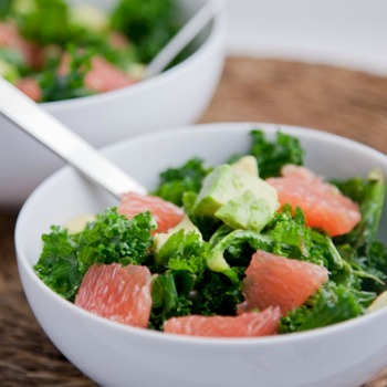 vegnationcelebration:  Kale, Avocado, and Grapefruit Salad with Ginger Dressing from Pickles and Honey